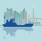 Silhouette Of Ship On City Background