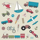 pic of railroad-sign  - car truck train bicycle boat airplane space shuttle and helicopter illustration set on gray background - JPG