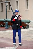 MONACO - APRIL 18, 2009: Guard on duty at official residence of Prince of Monaco. The  Guards unit w