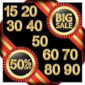 Big Sale Set, Golden Label With Ribbons, Vector Illustration