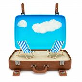 suitcase with 2 deckchairs