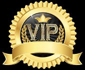 Vip Golden Label With Diamonds And Gold Ribbons, Vector