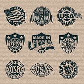 Made in America (USA) - set of stamps, labels. Vector format EPS 8, CMYK.