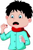 stock photo of sick  - Vector illustration of Sicked boy cartoon swallows pill - JPG