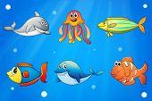Illustration of the six smiling sea creatures under the deep sea