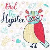 Owl the hipster. Cute cartoon card with bird and popular signs: bicycle, mustache, heart, anchor in bright colors