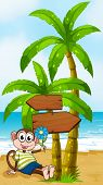 Illustration of a beach with a smiling monkey sitting under the wooden arrowboard
