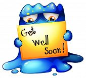 picture of get well soon  - Illustration of a blue monster holding a get - JPG