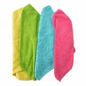 Set Of Microfiber Cleaning Cloths Isolated On White.
