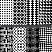 Geometric and Houndstooth seamless pattern set - Illustration