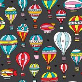 Seamless vintage hot air balloon illustration colorful background pattern in vector