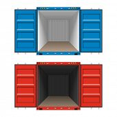 Freight shipping, open cargo containers. Vector.
