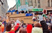 Cologne,North Rhine-March 3 : Large parade on the streets.more than one million spectators on the st