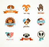 Pets vector icons - cats and dogs
