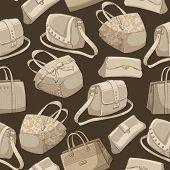 Seamless woman's stylish bags retro pattern