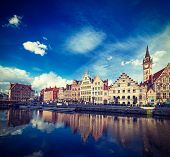 Vintage retro hipster style travel image of Europe Belgium medieval town travel background - Ghent c