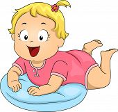 Illustration of a Smiling Baby Girl Propped Up by a Pillow