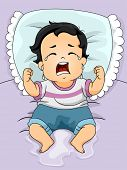 Illustration of a Baby Boy Crying Out Loud After Wetting His Bed