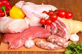 foto of raw chicken sausage  - Fresh raw meat  - JPG