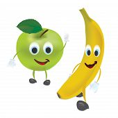 3D Set of Vector Fruits. Apple, Banana and with Facial Expressions