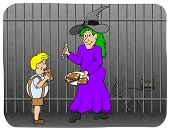 The Witch Keeps Boy Caught And Fattens Him With Gingerbread