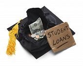 stock photo of begging  - Graduation Cap with Moeny and Student Loan Sign Isolated on White Background - JPG