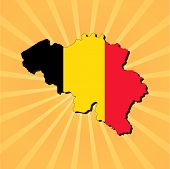 Belgium map flag on sunburst vector illustration