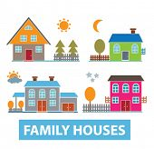 cute, adorable family houses set, vector