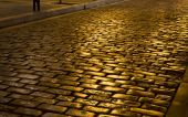 Old stone pavement street at Greece