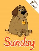 stock photo of weekdays  - Sunday dog weekdays hipster vector illustration calendar set - JPG