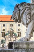 stock photo of munich residence  - Munich Bavarian Lion Statue in front of Feldherrnhalle Bavaria Germany - JPG