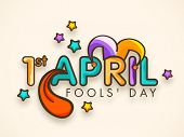 Happy Fool's Day funky concept with colorful stylish text on abstract background.