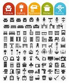 stock photo of mirror  - Furniture and home appliances Icons  - JPG
