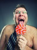 stock photo of pervert  - Crazy shirtless man - JPG