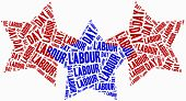 picture of labourers  - Word cloud labour day related in shape of stars - JPG