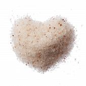 Himalayan Pink Salt Heart Isolated On White Top View