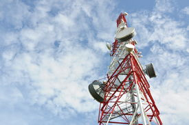 picture of antenna  - Telecommunication tower with cell phone antenna system - JPG