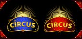Circus placards. two circus signs in the night for your entertainment