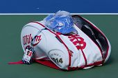 Grand Slam Champion Roger Federer customized Wilson tennis bag at US Open 2014