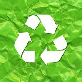 Green Crushed Paper Recycle, Vector Illustration