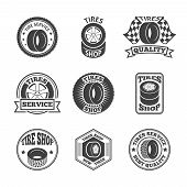 Tires label icon set