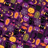 Happy halloween seamless pattern with flat icons.