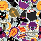 Happy halloween seamless pattern with flat sticker icons.