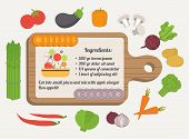 Recipe card, culinary template with food icons and kitchen elements. Flat design vector.