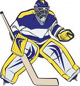 Ice hockey goalkeeper in action. Editable vector illustration.