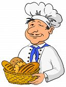 picture of pie-in-face  - Cartoon cook chef baker with a basket of fresh bread isolated on white background - JPG