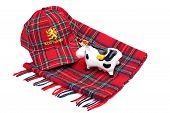 Scottish Red Tartan Cap, Tartan Scarves And Highland Cattle