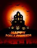Red Halloween haunted house background vector illustration