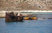 Shipwreck At Imeri Gramvousa Bay. Crete. Greece