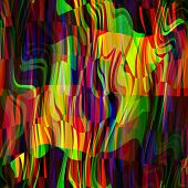 art abstract colorful chaotic waves pattern; background in red, gold, blue, purple and green colors
